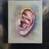 'Study of an Ear' 25x20cm. Oil on raw canvas